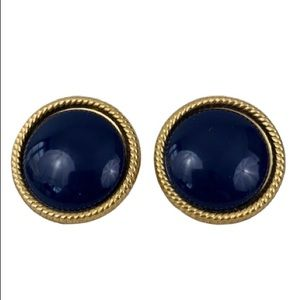VINTAGE BLUE GOLD 1980'S SCREW BACK EARRINGS